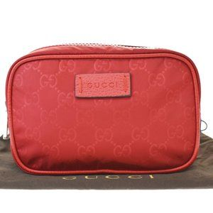 Authentic GUCCI GG Logos Pattern Hand Bag Pouch